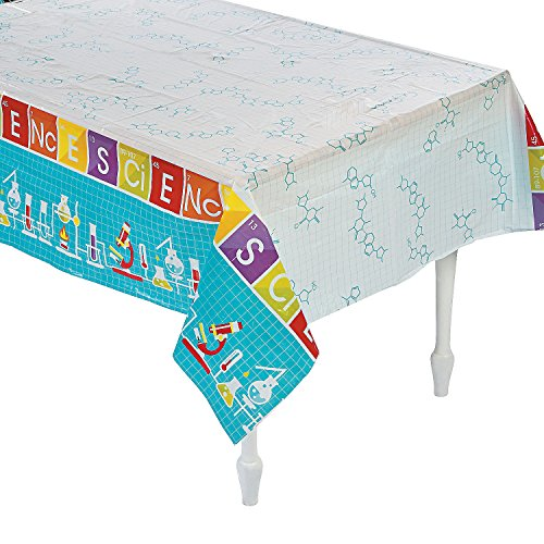 """Science Party Plastic Tablecloth - 108"""" x 54"""""""