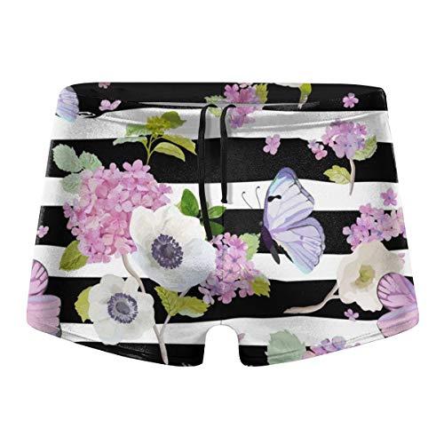 Black and White Striped Spring Flowers Butterfly Men Swimwear Swim Surf Board Boxer Shorts Trunks Pants Swimsuit]()