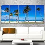 Designart 5 Piece Palms on Philippines Tropical Beach Modern Seascape Canvas Artwork, 60'' x 28'', Blue