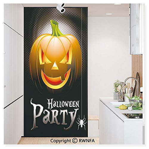 Decorative Window Film,Halloween Party Theme Scary Pumpkin on Abstract Modern Backdrop Spider Static Cling Glass Film,No Glue/Anti UV Window Paper for Bathroom,Office,Meeting Room,Bedroom,Silver Blac -