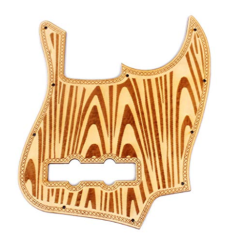 Wood Pickguard Replacement for Jazz Bass 5 String Style Bass Guitar Maple The Wave Pattern Multicolor (Multicolor)