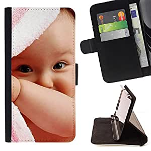BullDog Case - FOR/Samsung Galaxy Note 3 III / - / Cute Baby Girl /- Monedero de cuero de la PU Llevar cubierta de la caja con el ID Credit Card Slots Flip funda de cuer