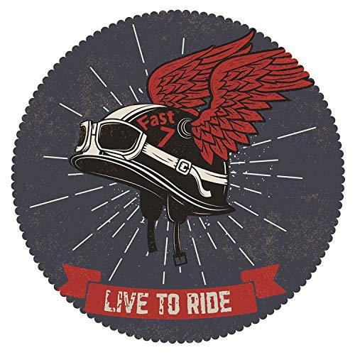 Round Tablecloth [ Modern,Live to Ride Quote and Helmet with Wings Motorcycle Lover Grunge Illustration,Charcoal Grey Red ] Fabric Home Decor (Moon Motorcycle Helmet)