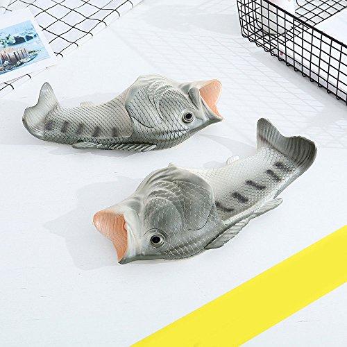 Pantoufle, Hacac Créatif Unisexe Poisson Douche Pantoufles Drôle Plage Chaussures Sandales Argent