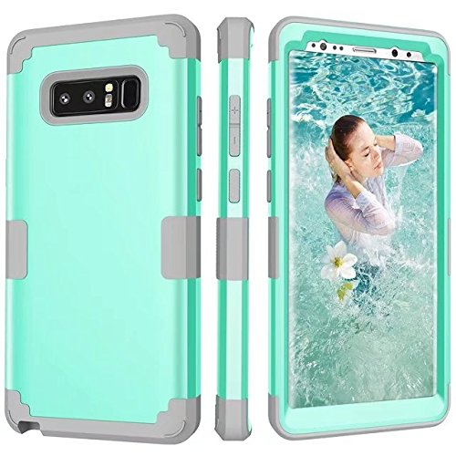 Galaxy Note 8 Case, AOKER [New] [Perfect] 3 in 1 Shockproof Hybrid Heavy Duty High Impact Hard Plastic +Soft Silicon Rubber Armor Defender Case Cover for Samsung Galaxy Note 8 (Mint Grey)