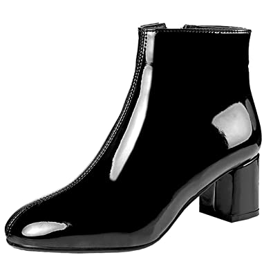 b2a824ef77ae Artfaerie Women s Block High Heel Platform Patent Leather Ankle Boots with  Fur Zip up Booties Shoes