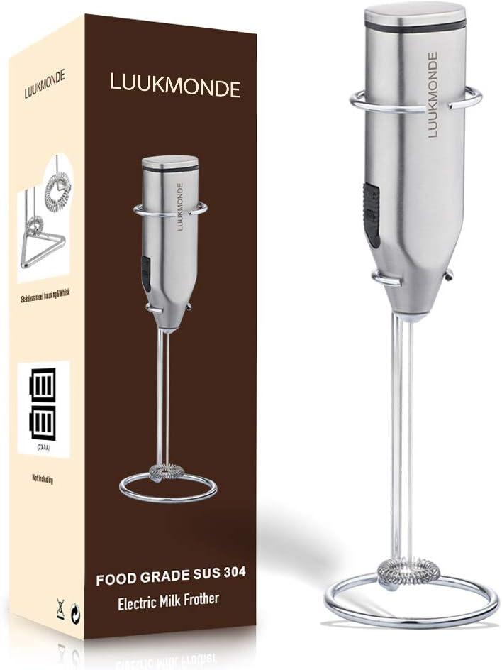 2020 Schaumbereiter ideal f/ür Latte Cappuccino Schwarz LUUKMONDE Milchaufsch/äumer Elektrischer Hand-Milchdampfer hei/ße Schokolade mit doppeltem Edelstahl-Schneebesen Kaffee-R/ührer