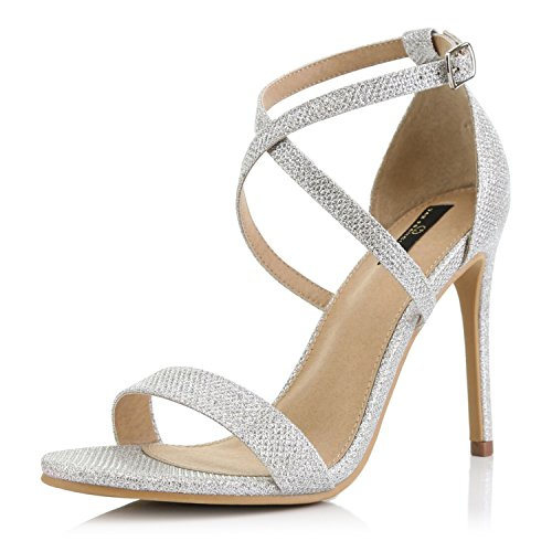 (DailyShoes Women's Open Toe Ankle Buckle Cross Strap Platform Pump Evening Dress Party High Heel Jennifer-22 Sandals, Silver Glitter, 7 B(M) US)