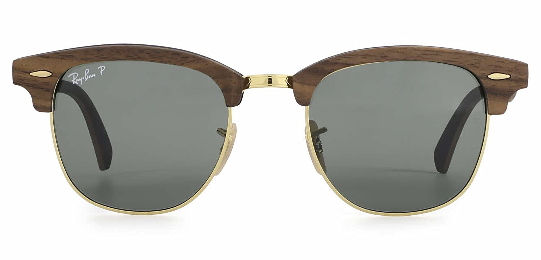 351f1060ec Amazon.com  Ray-Ban RB3016M Clubmaster Wood Unisex Sunglasses (Brown Wood  Frame Blue Grey Lens 1180R5