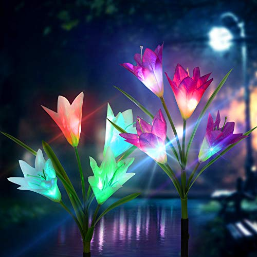 Outdoor Solar Garden Stake Lights 2 Pack Solar Powered Lights with 6 Lily Flower, Multi-Color Changing LED Solar Decorative Lights for Garden, Patio, Backyard