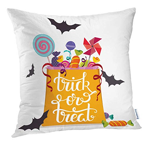 Batmerry Halloween Pillow Covers 18x18 inch, Bag Full Halloween Abstract Kids Quote Treat Trick Art Throw Pillows Covers Sofa Cushion Cover Pillowcase Home Gift]()