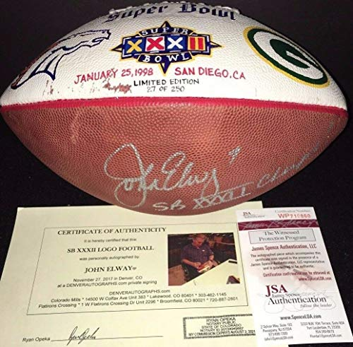 (John Elway Autographed Signed 1998 Super Bowl XXxII Hand Painted Football Memorabilia - JSA Authentic)