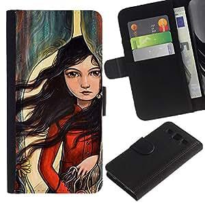 SAMSUNG Galaxy S3 III / i9300 / i747 Modelo colorido cuero carpeta tirón caso cubierta piel Holster Funda protección - Hair Girl Deep Emo Hipster Art