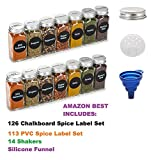 6oz, BEST VALUE 14 Large Glass Spice Jars includes pre-printed 126 Chalkboard Spice Labels plus 113 PVC Clear Labels. 14 Square Empty Jars, Airtight Cap, kitchen Funnel Pour/Sift Shakers