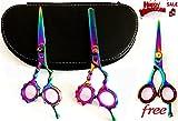 New Multicolor J2 Japanese Steel Professional Razor Edge Titanium Coated Hairdressing Scissors and Hair Thinning Scissors/shear Set 5.5 Inch (14cm)+ Free Mutlicolor Barber Shear