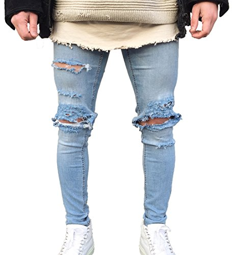 Men's Skinny Ripped Holes Stretch Jeans Distressed Tapered Leg Denim Pants (US 30=Tag 32(Asian Size), Light Blue)