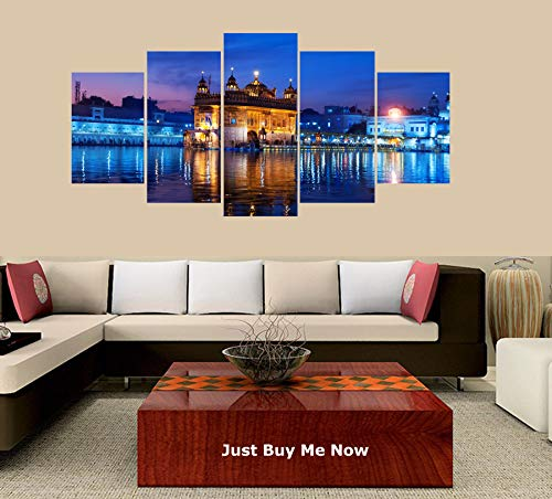 (PEACOCK JEWELS [Large] Premium Quality Canvas Printed Wall Art Poster 5 Pieces / 5 Pannel Wall Decor Golden Temple Drawing Painting, Home Decor Pictures - Stretched)