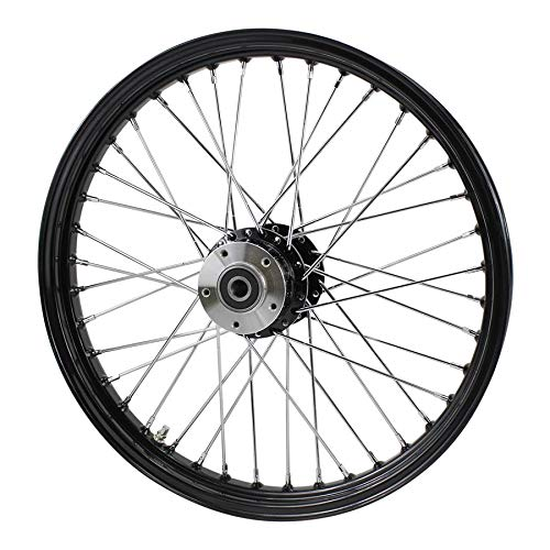Black Front 40 Spoke Wheel 21''x2.15'' (fits Harley Softail 2000-2006, Dyna FXDWG 2000-2005) by MOTO IRON