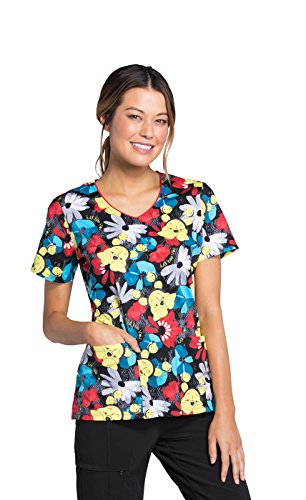 Cherokee Tooniforms by Women's V-Neck Winnie The Pooh Print Scrub - Scrub Cute