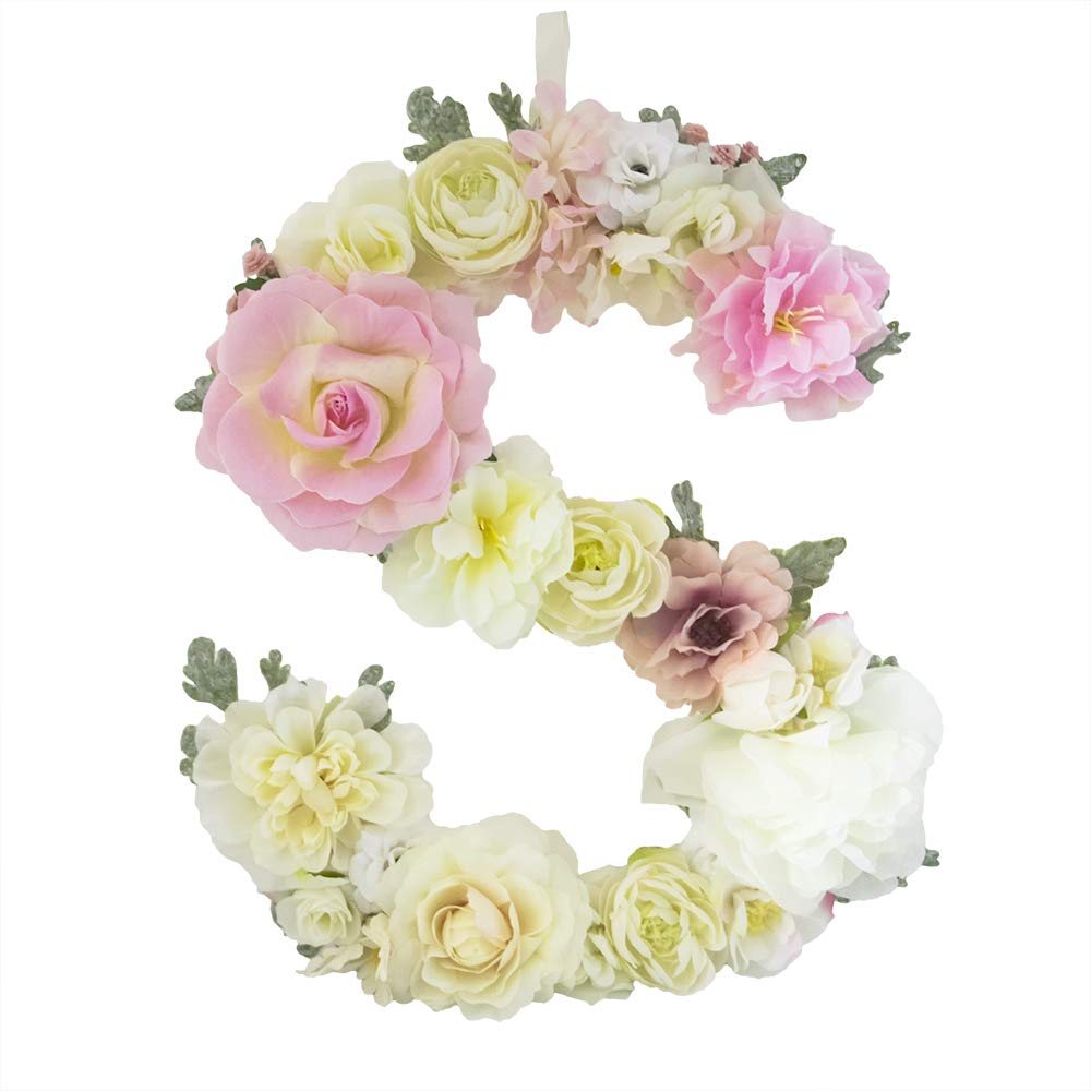 DARONGFENG RuralStyle Floral Letters, Handmade Wood Artificial Flower Letter Monogram for Wall Door Desk Top Decoration, Nursery/Baby Shower/Children Room/Wedding /Birthday Party Decor (S)
