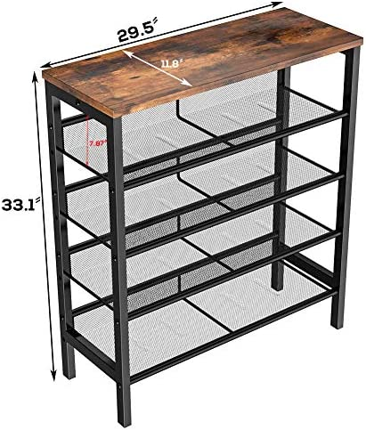 Hooseng 15 to 20 Pairs Shoe Rack, 5 Tier Shoe Shelf with 4 Stand Metal Mesh Shelves for Entryway, Hallway, Closet, Rustic Brown W39420733
