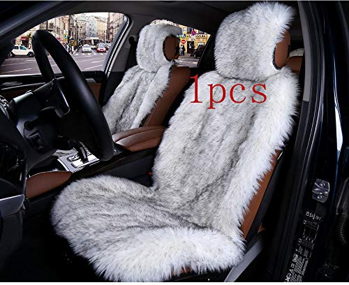 (1Pcs Faux Sheepskin Seat Cover Universal Fit For Cars suv Trucks Soft Plush Synthetic Wool Buck Fur Car Seat Covers Wrap Airbag)