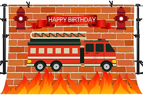Amazon Com Phmojen Red Firetruck Birthday Party Backdrop Fire