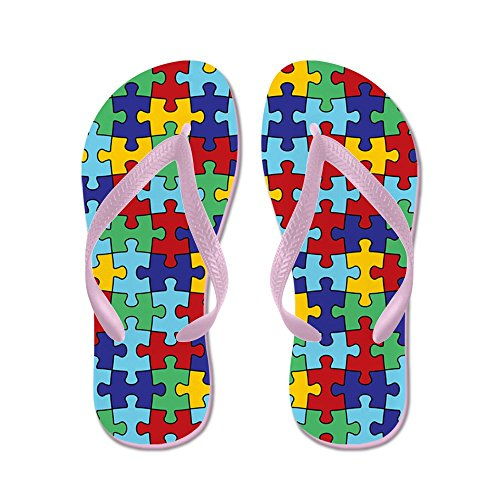 CafePress Autism Awareness Puzzle Piece Pattern - Flip Flops, Funny Thong Sandals, Beach Sandals Pink