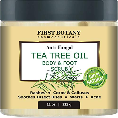 100% Natural Tea Tree Oil Body & Foot Scrub with Dead Sea Salt - Best for Acne, Dandruff and Warts, Helps with Corns, Calluses, Athlete foot, Jock Itch & Body Odor