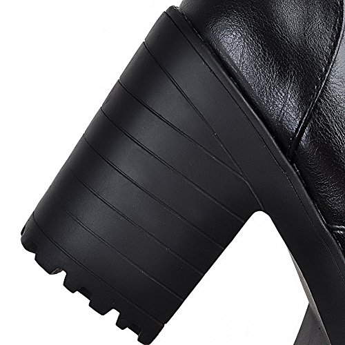 Sortierte Toe Farbe Heels High Runde PU Damen Allhqfashion Schwarz Stiefel Closed Schnürschuh 5qTwRR