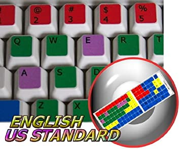 LEARNING ENGLISH US COLORED PC KEYBOARD STICKER