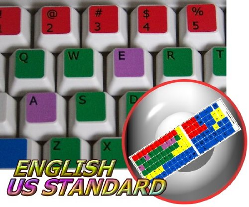 - LEARNING ENGLISH US COLORED PC KEYBOARD STICKER FOR DESKTOP, LAPTOP AND NOTEBOOK