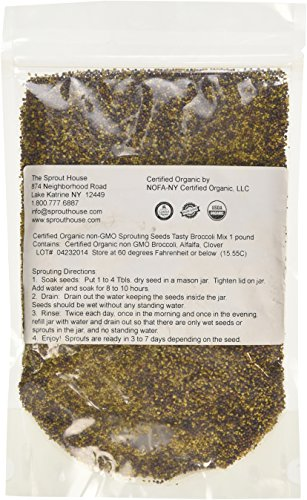 The Sprout House Certified Organic Non-gmo Sprouting Seeds - Tasty Broccoli Mix 1 Lb Broccoli, Alfalfa, Clover Certified Organic Alfalfa Seeds