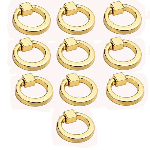 (Eforlike 10 Pcs European Style Ring Pull Handles Knobs for Cabinet Drawer Dresser Cupboard Wardrobe (Gold))