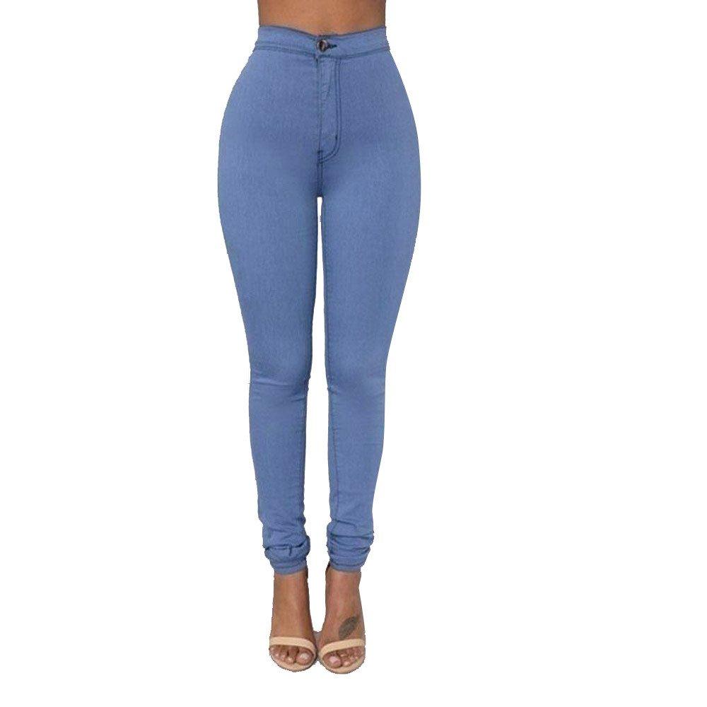 Rosennie Damen Mode Jeans Hosen Skinny Hoch Taille Jeanshose Bleistift Leggings Streetwear Elastische Jeanshose High Waist Denim Jeans Hose Pencil Hose Solid Casual Workout Hose