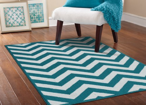 Garland Rug Large Chevron Area Rug, 5 by 7-Feet, Teal White