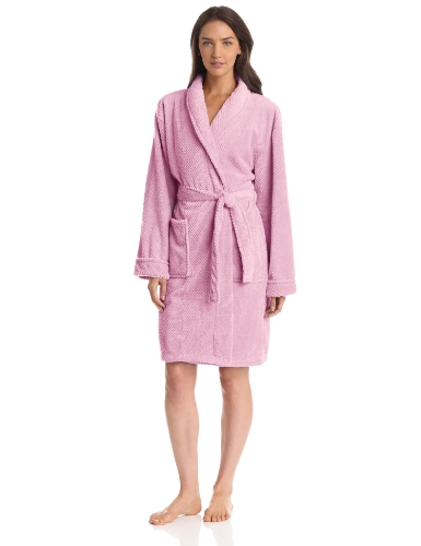 Seven Apparel Hotel Spa Collection Popcorn Jacquard Bath Robe, Pink ()