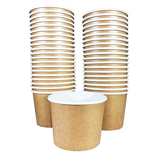 Garden Cream Soup Cup - Paper Ice Cream Cups - 50-Count 11-Oz Disposable Dessert Bowls for Hot or Cold Food, 11-Ounce Party Supplies Treat Cups for Sundae, Frozen Yogurt, Soup, Brown