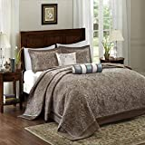 Extra Long King Bedspread D&H 5 Piece 120 x 118 Oversized Blue Brown King Bedspread to The Floor Set, Extra Long Jacquard Paisley Bedding Xtra Wide Drops Over Edge Frame, Drapes Down Sides Hangs Over Bed, Polyester