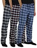 Real Essentials 3 Pack:Men's Cotton Super Soft Flannel Plaid Pajama Pants/Lounge Bottoms,Set 1-XXL