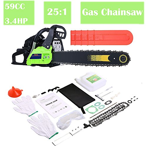 59CC Gas Chainsaw, 3.4HP Petrol Chainsaw Cutting Wood 2.0KW Chain and Cover Tool Kit for Farm, Garden and Ranch (Green (59cc)) by Evokem