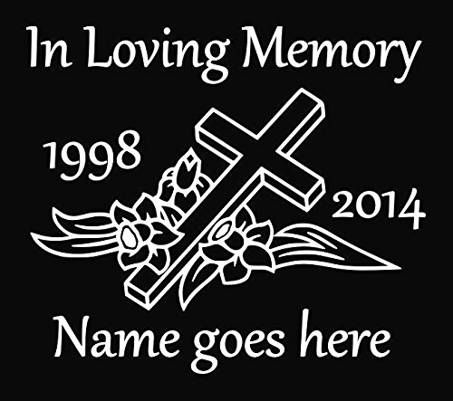 "Customized In Loving Memory Cross Window Decal 7"" Tall ..."
