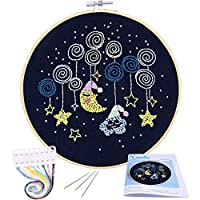 Full Range of Embroidery Starter Kit with Pattern, Kissbuty Cross Stitch Kit Including Embroidery Cloth with Plant Pattern, Bamboo Embroidery Hoop, Color Threads and Tools Kit