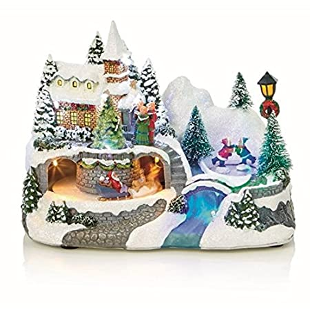 animated christmas village church scene with ice skaters decoration - Animated Christmas Village
