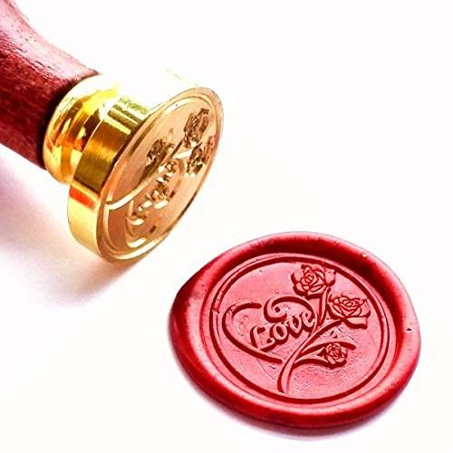 Vooseyhome The Heart Love Rose Wax Seal Stamp with Rosewood Handle - Ideal for Decorating Gift Packing, Envelopes, Parcels, Invitations, Signature and Everything You Can Think and You Like!