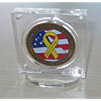 """1.75"""" or 2"""" Challenge Coin / Poker Chip Display Case Holder with Stand, Clear Acrylic, with Magnetic Fasteners, COIN-AC1"""