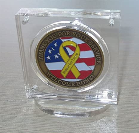 2 Display Stand Easel Challenge Coin Holder AA Medal Token Badge Air-tite CLEAR