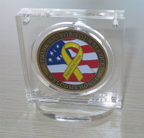 Military Challenge Coin / Poker Chip Display Case Holder with Stand, Clear Acrylic, with Magnetic Fasteners, COIN-AC1 - Acrylic Coin Display