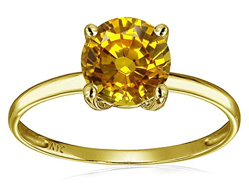 - Star K 7mm Round Genuine Citrine Solitaire Engagement Ring 14 kt Yellow Gold Size 5