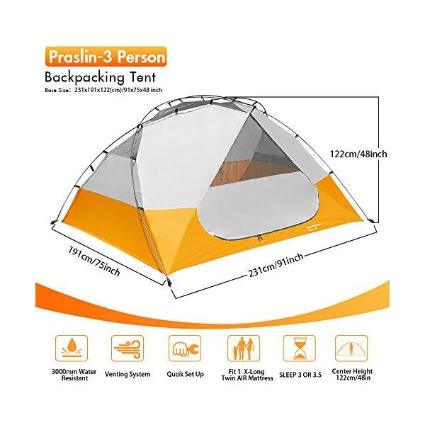51OXZC9A25L Bessport Camping Zelt 3 Personen Ultraleichte Zelt Wasserdicht 3-6 Saison Zwei Türen Sofortiges Aufstellen für Trekking…